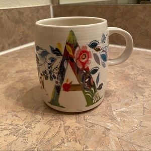 Anthropologie Floral Letter A Mug